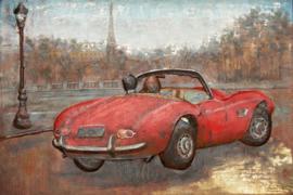 120 x 80 cm - 3D art Schilderij Metaal - Rode auto Parijs oldtimer - handgeschilderd