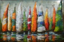 120 x 80 cm - 3D art - Schilderij Metaal kleurrijke zeilboten - metaalschilderij - handgeschilderd