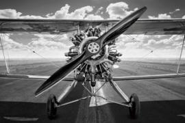 120 x 80 cm - Glasschilderij - schilderij fotokunst - vliegtuig -  met metaalfolie -   foto print op glas --
