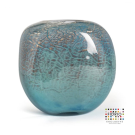 Design vaas Fidrio - glas kunst sculptuur - coco - Oceana - mondgeblazen - 21 cm hoog