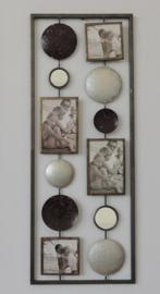28 x 73 cm - wanddecoratie schilderij metaal - Frame Art - fotolijst en cirkels