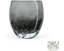 Design vaas - Fidrio GREY BUBBLES - glas, mondgeblazen bloemenvaas - diameter 11,5 cm hoogte 12 cm
