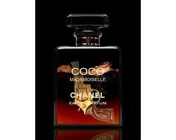 60 x 80 cm - Glasschilderij - Parfum van Miss Dior - schilderij fotokunst - verwerkt met goudfolie