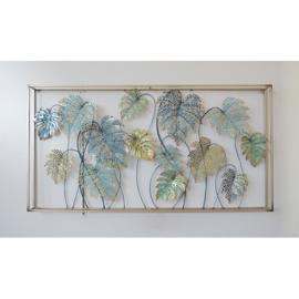 Metalen wanddecoratie - bladeren in frame