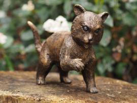 Tuinbeeld - bronzen beeld - Staande poes - Bronzartes - 10 cm hoog