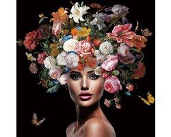 80 x 80 cm - Glasschilderij - Vrouw met kleurrijke bloemen - schilderij fotokunst - foto print op glas