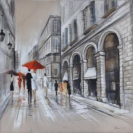 Olieverfschilderij - Winkelstraat - 100x100 cm
