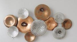 Metalen wanddecoratie - wanddeco - bronzen cirkels