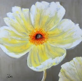 100 x 100 cm - Olieverfschilderij - Bloem - natuur - handgeschilderd