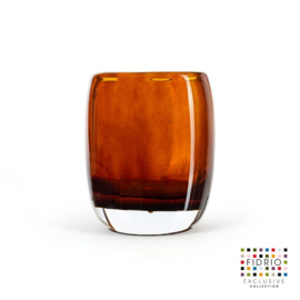 Design vaas  - Fidrio AMBER - glas, mondgeblazen bloemenvaas - diameter 13 cm hoogte 16 cm