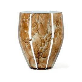 Design vaas Fidrio - glazen sculptuur - Marmi - Oval - glas - mondgeblazen - 25 cm hoog