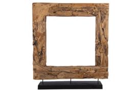 Houten kunst - Beeld - sculptuur - Houten vierkante krans