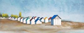 Olieverfschilderij - Strandhuisjes - 150x60 cm