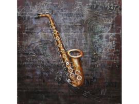 80 x 80 cm - 3D art Schilderij Metaal - muziekinstrument - saxofoon - handgeschilderd