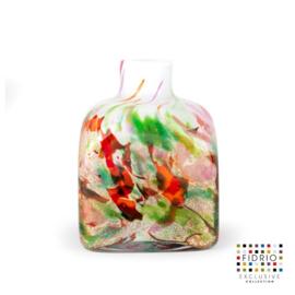 Design vaas Fidrio - glas kunst sculptuur - cube - Mixed colours - mondgeblazen - 14 cm hoog--