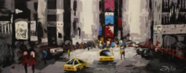 150 x 60 cm - Olieverfschilderij - Stad - stadsgezicht handgeschilderd