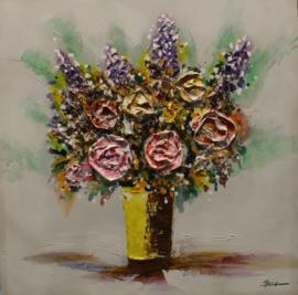 80 x 80 cm - Olieverfschilderij - Vaas met bloemen