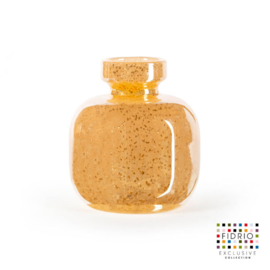 Design vaas Fidrio - glazen sculptuur - Copper - olympia small - glas - mondgeblazen - bloemenvaas - 14,5 cm hoog --