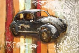 120x80 cm - 3D art Schilderij Metaal Oldtimer Kever - handgeschilderd