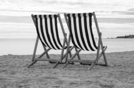 Foto op hout - Strandstoeltjes