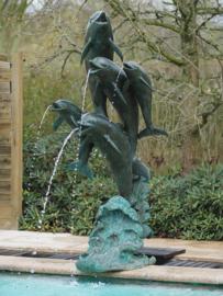 Tuinbeeld - groot bronzen beeld -  vijf dolfijnen - Bronzartes