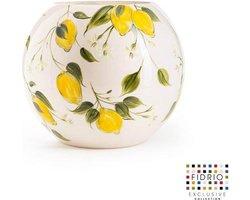 Design vaas Bolvase - Fidrio HAND PAINTED LEMON - glas, mondgeblazen bloemenvaas - diameter 25 cm