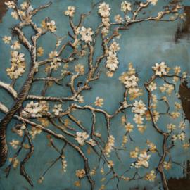 100 x 100 cm - 3D art Schilderij Metaal - amandelbloesem - van Gogh - natuur handgeschilderd