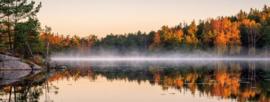 Glasschilderij - Herfst landschap  - 160x60 cm