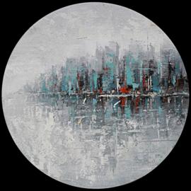 80 x 80 cm - Olieverfschilderij - Stadsgrens - stadsgezicht skyline handgeschilderd