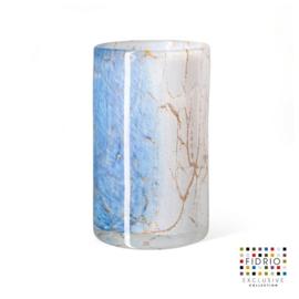 Design vaas Fidrio - glas kunst sculptuur - cilinder - Golden wire - mondgeblazen - 19,5 cm hoog