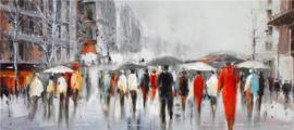 150 x 60 cm - Olieverfschilderij - Mensen Stad - stadsgezicht - handgeschilderd
