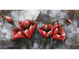 120 x 60 cm - 3D art Schilderij Metaal - Rode Bloemen - natuur handgeschilderd