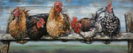 60 x 150 cm - 3D art Schilderij Metaal -  hanen - handgeschilderd