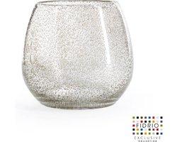 Design vaas Fiore - Fidrio BUBBLES CLEAR - glas, mondgeblazen bloemenvaas - hoogte 22 cm