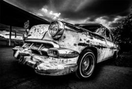 Glasschilderij - Route 66 Amerikaanse auto -  120x80 cm