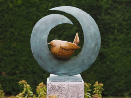 Bronzen beeld - Tuinbeeld - beeld  - vogel - Bronzartes - 50 cm hoog - voor huis en tuin