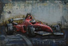 60x40 cm - 3D art Schilderij Metaal Formule 1 - handgeschilderd
