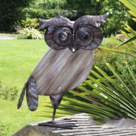 Beeld metaal en hout - Tuinbeeld - beeld uil - 35,5 cm hoog
