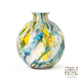 Design vaas Fidrio - glas kunst sculptuur - Bottle colori - mondgeblazen - 23 cm diep --