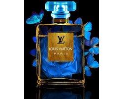 60 x 80 cm - Glasschilderij - parfumfles - Louis Vuitton - met goudfolie - foto print op glas