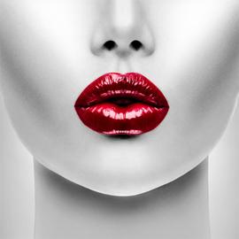 100 x 100 cm - Schilderij Dibond - Vrouw met rode lippen - fotokunst