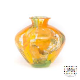 Design vaas Fidrio - glas kunst sculptuur - Botanic - belly - mondgeblazen - 15 cm hoog --