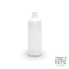 Design vaas Fidrio - glas kunst sculptuur - bottle - White granulat - mondgeblazen - 25 cm hoog