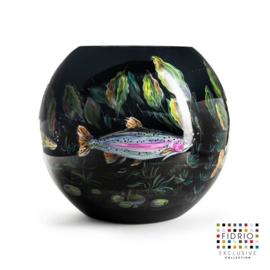 Design vaas bol - Fidrio HAND PAINTED FISH BLACK - glas, mondgeblazen bloemenvaas - diameter 40 cm