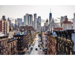 120 x 80 cm - New York & Empire State Building - Glasschilderij - schilderij fotokunst - foto print op glas