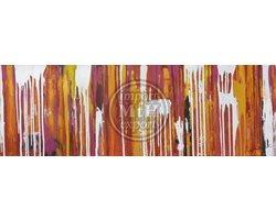 150 x 50 cm - Olieverfschilderij - Abstracte strepen - canvas - handgeschilderd