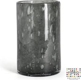 Design vaas Cilinder - Fidrio SMOKEY - glas, mondgeblazen bloemenvaas - diameter 12 cm hoogte 19,5 cm