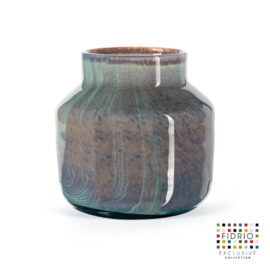 Design vaas Fidrio - glazen sculptuur - Uni colour - Pax Lagoon - glas - mondgeblazen - bloemenvaas - 20 cm hoog --