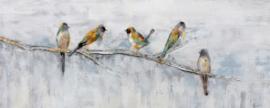 Olieverfschilderij - Vogeltjes - 60x150 cm