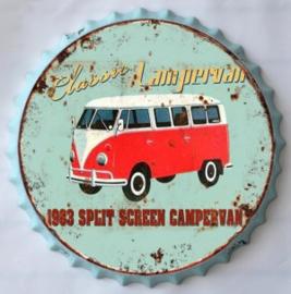 rond 33 cm - Wanddecoratie schilderij bierdop kroonkurk - Tourbusje